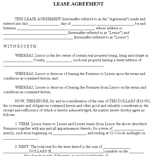 Free Rental Lease Agreement Template - Template for a rental lease agreement